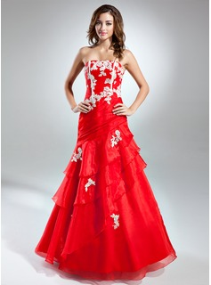 A-Line/Princess Strapless Floor-Length Organza Prom Dress With Embroidered Cascading Ruffles (018015528)