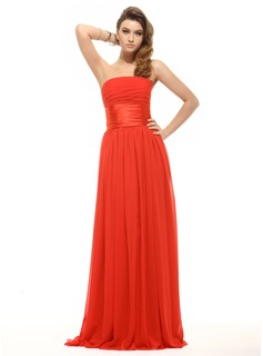 Holiday Dresses Empire Strapless Floor-Length Chiffon Charmeuse Holiday Dress With Ruffle (020016066)