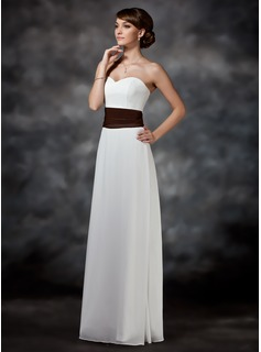 Bridesmaid Dresses Sheath Sweetheart Floor-Length Chiffon Charmeuse Bridesmaid Dress With Ruffle Sash (007001740)