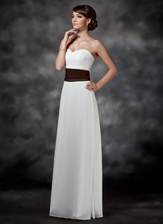 Vestido tubo Escote corazón Hasta el suelo Chifón Dama de honor con Volantes Fajas (007001740)