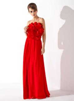 Forme Princesse Sans bretelle Longueur ras du sol Mousseline Robe bal d'étudiant avec Fleur(s) (018004788)
