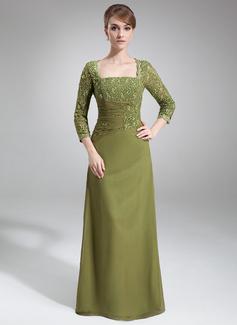 Etui-Linie Rechteckiger Ausschnitt Bodenlang Chiffon Kleid für die Brautmutter mit Perlstickerei Pailletten (008006049)