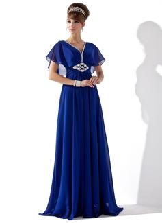 A-Linie/Princess-Linie V-Ausschnitt Bodenlang Chiffon Abendkleid mit Rüschen Perlen verziert (017013417)