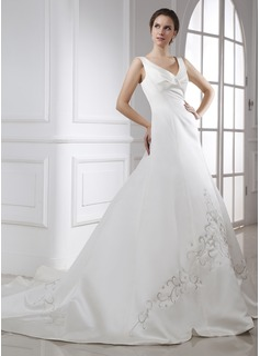 A-Line/Princess V-neck Chapel Train Satin Wedding Dress With Embroidered Ruffle (002015472)