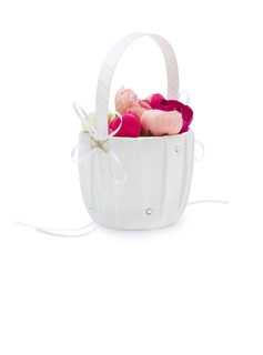 Pretty Flower Basket in Satin With Rhinestones (102018082)