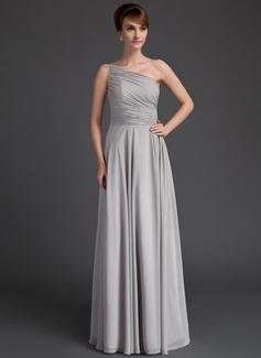 A-Linie/Princess-Linie Eine Schulter Bodenlang Chiffon Kleid für die Brautmutter mit Rüschen (008021118)