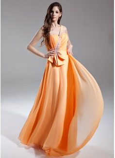 A-Line/Princess One-Shoulder Watteau Train Chiffon Prom Dress With Ruffle Beading (018015597)