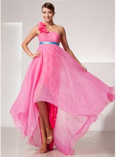 Empire One-Shoulder Asymmetrical Organza Charmeuse Prom Dress With Sash Flower(s) (018014472)
