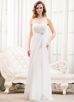 A-Line/Princess Sweetheart Floor-Length Chiffon Wedding Dress With Ruffle Beading Sequins (002054622)