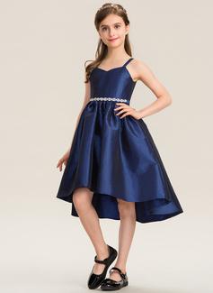 A-Linie Schatz Asymmetrisch Taft Kleid für junge Brautjungfern mit Perlstickerei Schleife(n) (009173276)