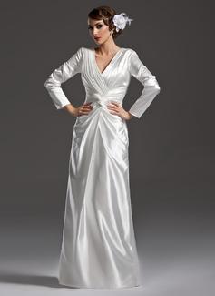 Etui-Linie V-Ausschnitt Bodenlang Charmeuse Kleid für die Brautmutter mit Rüschen (008006169)