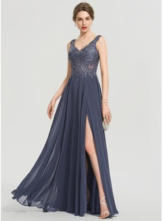 A-Line V-neck Floor-Length Chiffon Prom Dresses With Beading Split Front (018192340)