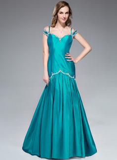 Trompete/Meerjungfrau-Linie Schulterfrei Sweep/Pinsel zug Taft Abendkleid mit Perlen verziert Pailletten (017045183)