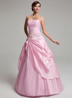 A-Linie/Princess-Linie Trägerlos Bodenlang Taft Tüll Quinceañera Kleid (Kleid für die Geburtstagsfeier) mit Rüschen Perlen verziert Applikationen Spitze (021020768)