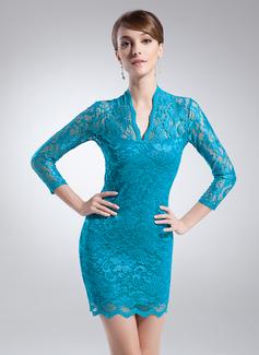 Etui-Linie V-Ausschnitt Kurz/Mini Spitze Kleid für die Brautmutter (008015694)