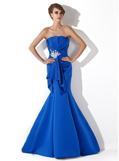 Mermaid Scalloped Neck Sweep Train Satin Evening Dress With Ruffle Beading Appliques (017013778)
