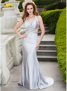 Trumpet/Mermaid V-neck Sweep Train Charmeuse Prom Dress With Beading (018024668)
