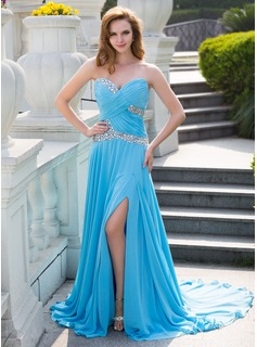 A-Line/Princess Sweetheart Court Train Chiffon Prom Dress With Ruffle Beading Split Front (018024650)