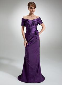 Etui-Linie Schulterfrei Sweep/Pinsel zug Taft Kleid für die Brautmutter mit Rüschen Perlen verziert Blumen (008006321)