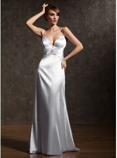 Robe de Bal de Promo Gaine Cur Traine longue Charmeuse Robe de Bal de Promo avec Ondul Brod Broche florale en cristal (018002822)