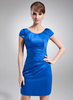 Etui-Linie U-Ausschnitt Kurz/Mini Satin Kleid für die Brautmutter mit Rüschen (008006570)