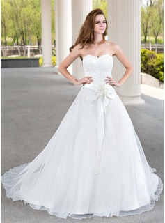 Ball-Gown Sweetheart Court Train Satin Organza Lace Wedding Dress With Beading Flower(s) (002011970)