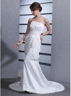 Mermaid Sweetheart Court Train Taffeta Wedding Dress With Ruffle Lace Beadwork (002000100)