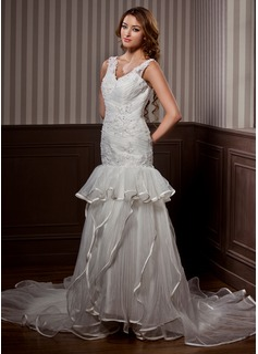 A-Line/Princess V-neck Chapel Train Organza Satin Wedding Dress With Beading Cascading Ruffles Pleated (002011460)