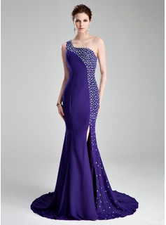 Trumpet/Mermaid One-Shoulder Court Train Chiffon Prom Dress With Beading Split Front (018019007)
