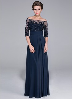A-Line/Princess Off-the-Shoulder Floor-Length Chiffon Mother of the Bride Dress With Beading Appliques Lace Sequins (017025450)