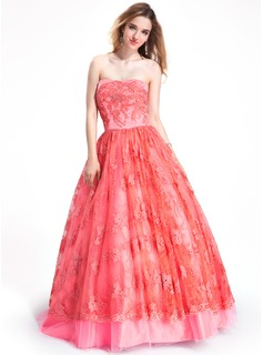 Ball-Gown Strapless Floor-Length Tulle Lace Prom Dress With Beading (018019055)