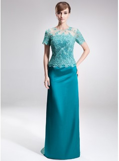 Sheath Scoop Neck Sweep Train Tulle Charmeuse Mother of the Bride Dress With Lace Beading (008005926)