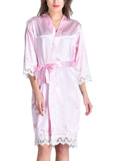 Personalized Bride Bridesmaid Flower Girl Satin With Knee-Length Personalized Robes (248185551)
