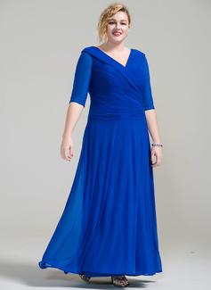 A-Linie/Princess-Linie V-Ausschnitt Knöchellang Jersey Kleid für die Brautmutter mit Rüschen (008077020)