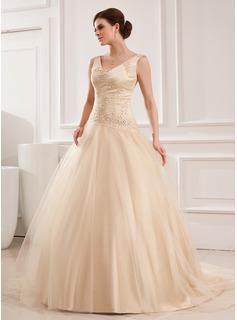 Ball-Gown V-neck Chapel Train Satin Tulle Wedding Dress With Lace Beadwork (002012825)