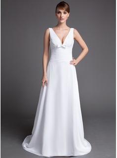 A-Line/Princess V-neck Chapel Train Chiffon Wedding Dress With Ruffle Bow(s) (008016193)