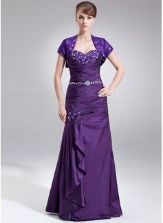 Trompete/Meerjungfrau-Linie Herzausschnitt Bodenlang Taft Kleid für die Brautmutter mit Spitze Perlen verziert Gestufte Rüschen (008005576)