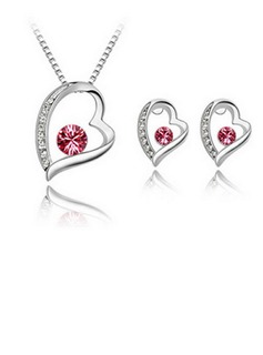 Sweet Heart Alloy/Crystal Ladies' Jewelry Sets (011036502)