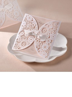 Personalized Artistic Style Wrap & Pocket Invitation Cards With Bows (Set of 20) (114055015)