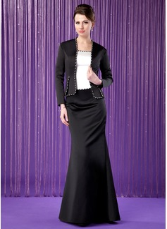 Trompete/Meerjungfrau-Linie U-Ausschnitt Bodenlang Satin Kleid für die Brautmutter mit Perlen verziert (008018722)
