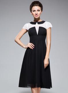 Trompete/Meerjungfrau-Linie U-Ausschnitt Knielang Chiffon Kleid für die Brautmutter (008042830)