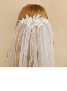 One-tier Cut Edge Elbow Bridal Veils With Satin Flower/Faux Pearl (006190610)