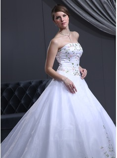 Ball-Gown Strapless Cathedral Train Organza Satin Wedding Dress With Beading (002000050)
