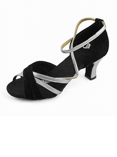 Women's Satin Heels Sandals Latin With Ankle Strap Dance Shoes (053013125)