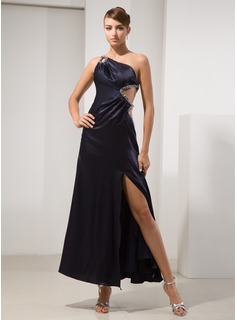 A-Line/Princess One-Shoulder Ankle-Length Charmeuse Prom Dress With Beading Split Front (018014479)