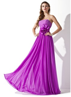 A-Line/Princess Strapless Floor-Length Chiffon Charmeuse Prom Dress With Ruffle Beading Flower(s) (018013790)