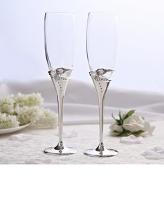 Rings Design Lead-free Glass/Aluminum Toasting Flutes (Set Of 2) (126051242)