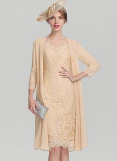 Etui-Linie U-Ausschnitt Knielang Spitze Kleid für die Brautmutter mit Perlstickerei Pailletten (008114259)