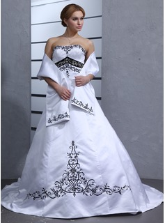 Ball-Gown Sweetheart Chapel Train Satin Wedding Dress (002001949)