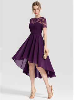A-Line/Princess Scoop Neck Asymmetrical Chiffon Homecoming Dress (022170685)